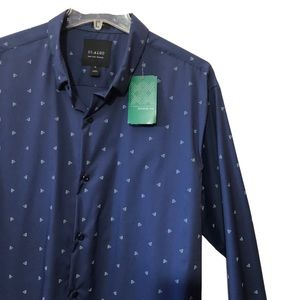 NWT 01.ALGO non iron stretch print button up XL